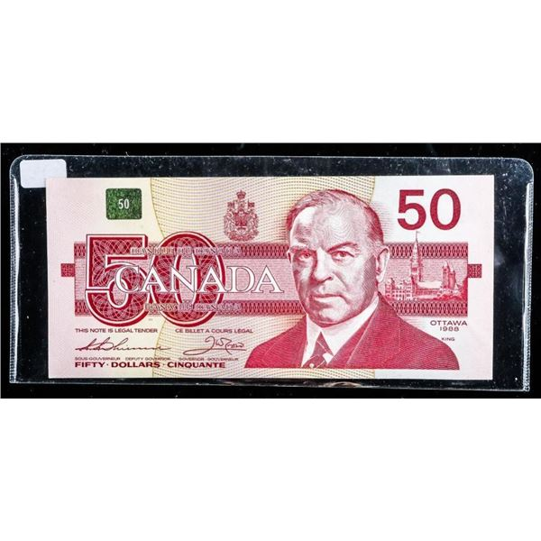 """Bank of Canada 1988 $50 """"EHP"""" Special Serial (666)"""
