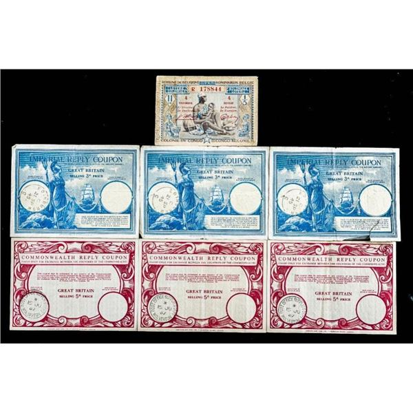 Lot of Reply Coupons 1967 /Belgian Notes Etc.