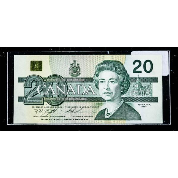 """OLMSTEAD Bank of Canada 1991 $20 """"AWC"""" UNC"""