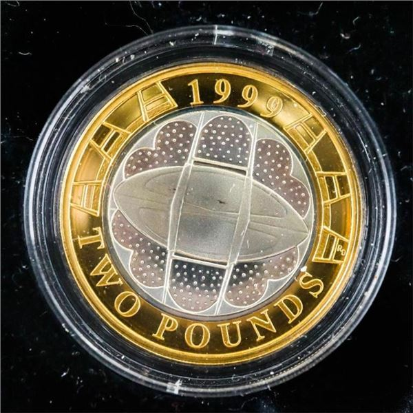 UK 1999 Silver Proof Two- Po9und Coin Rigby World  Cup w/COA