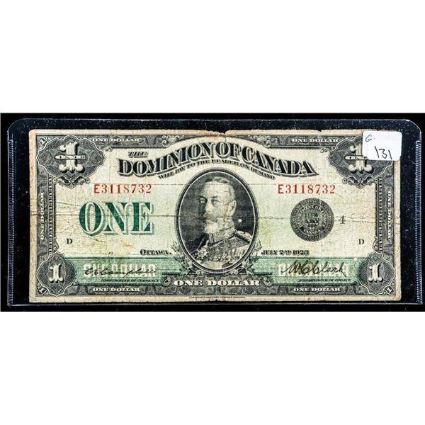 OLMSTEAD Dominion of Canada 1923 One Dollar Black  Seal
