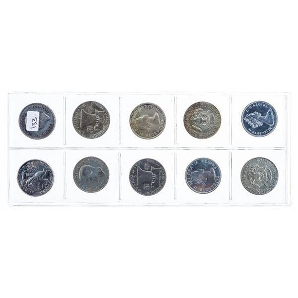 Group of 10 Matched Silver USA & Canada Dates - 50  Cent Coins
