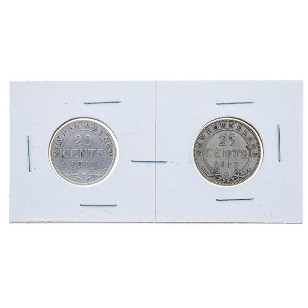 NFLD Lot 2 Sterling Silver 20 & 25 cent Coins 1912  & 1917