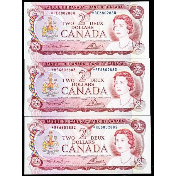 OLMSTEAD Bank of Canada LOT OF 3 x 1974 $2 *RE  Replacements In Sequence UNC