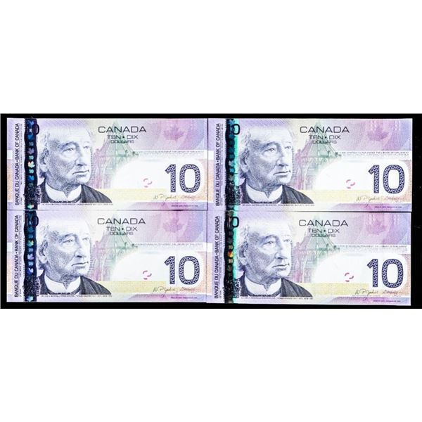 """OLMSTEAD Bank of Canada 2005 $10 - Lot of 4 In  Sequence """"BTF"""" Choice UNC"""