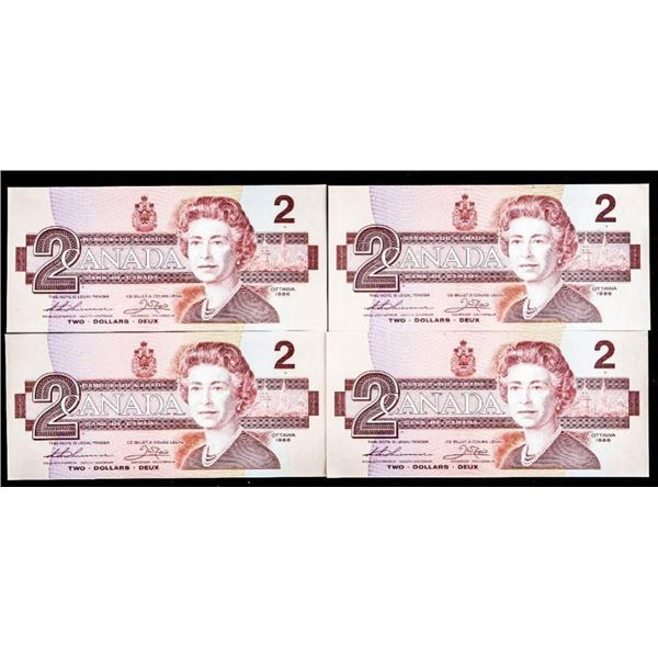 OLMSTEAD Bank of Canada Lot of 4 1986 $2 In  Sequence BRR UNC