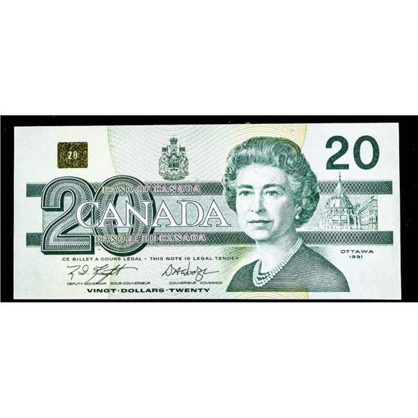 "OLMSTEAD Bank of Canada 1991 $20 ""EVZ"" Rept. 8.76  - 9.84 UNC"