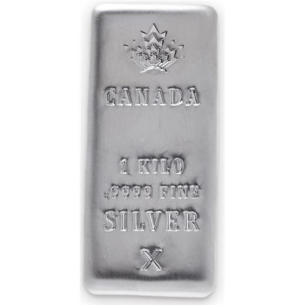 Canada Silver Bar, 1 Kilo Bar .9999 Fine Silver -  Investment Quality (Allow 10-14 Days For Delivery
