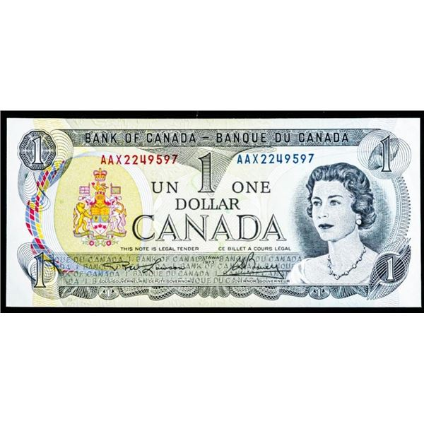 "OLMSTEAD Bank of Canada 1973 $1 ""AAX"" LITHO - AU+"