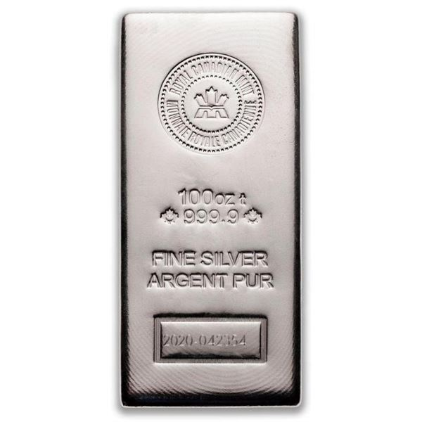 SILVER BAR 100 OZ ROYAL CANADIAN MINT .9999 - The  Purest 100 oz. Bar Produced.(Allow 10-14 Days For