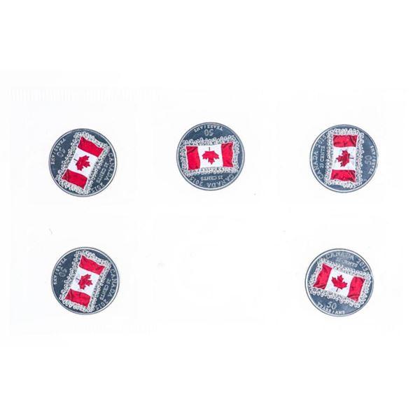 Canada 50 Years RCM 2015 5 Coin Pack w/  Coloured Canada Flag