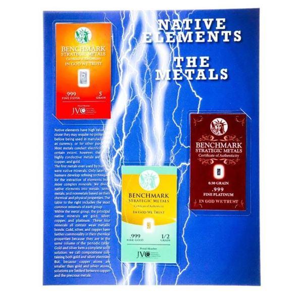 Native Elements -Bullion Trilogy Collection -  .999 Fine PURE GOLD, PLATINUM & SILVER Bars-  Sealed,