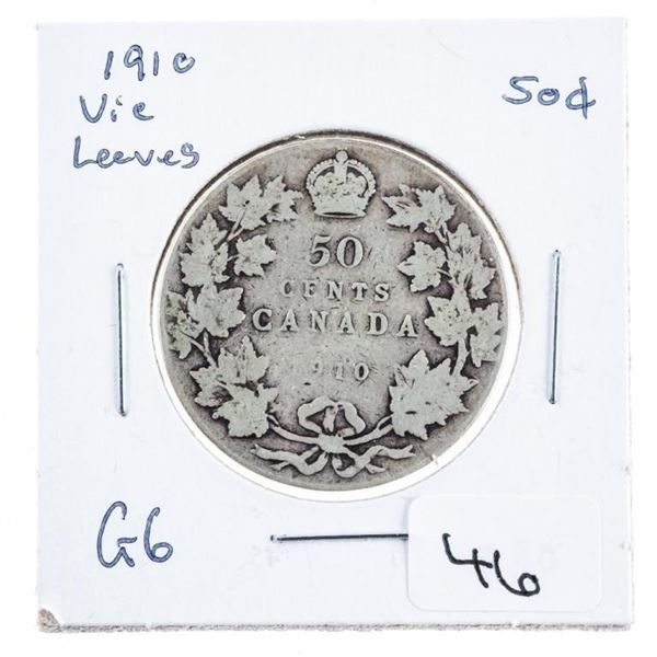 Canada 1910 Silver 50 cents Victorian Leaves