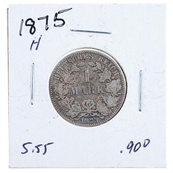 1875H German 1 Mark Silver Coin .900 Fine