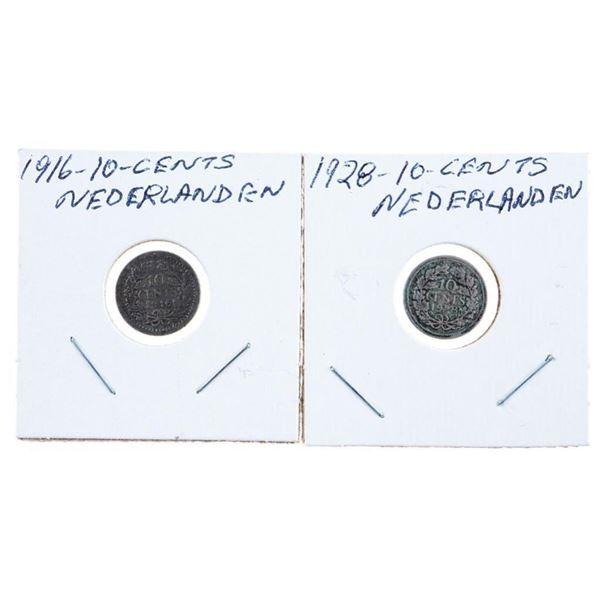 Lot 2 Nederlands 1916 & 1928 10 cents