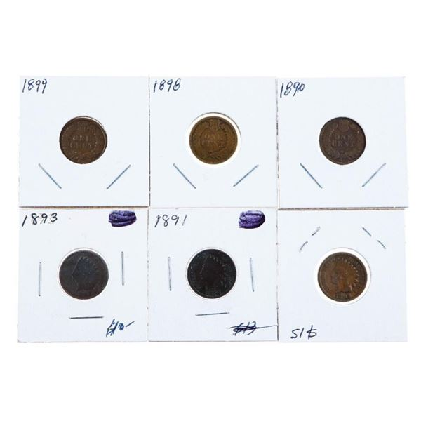 Group of 6 Indian Head Pennies - 1890 -1899