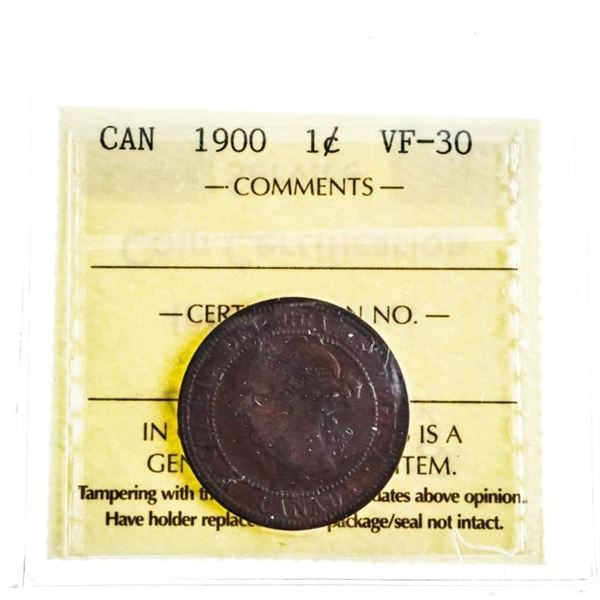 Canada 1900 Large Cent VF 30 ICCS