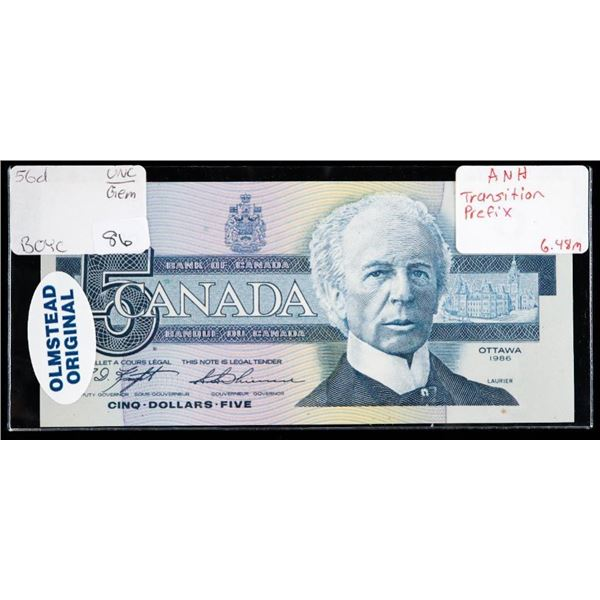 "OLMSTEAD Original Bank of Canada 1986 $5  ""ANH"" Transition Prefic"" GEM UNC"