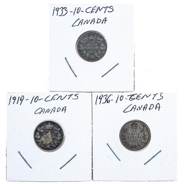 Group of 3 Canada Silver Ten Cents -  1919-1933-1936