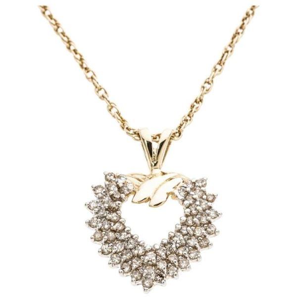 14KT Yellow Gold Heart Shaped Diamond Pendant -  Certification: Gem Scan. $1,625.00