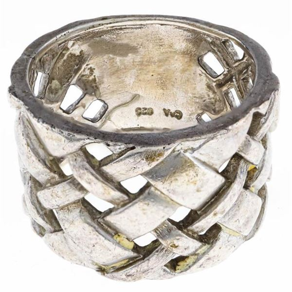 Estate Sterling Silver Wide Weave Band Ring Size 9