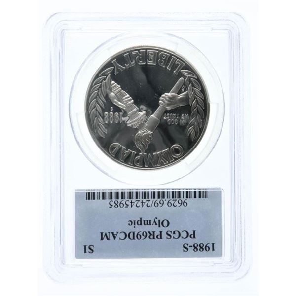 1988S Silver Olympic Coin $1 PCGS PR69DCAM