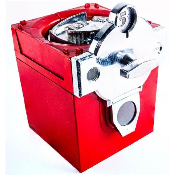 Vintage Metal Five Cent Gumball Machine Base