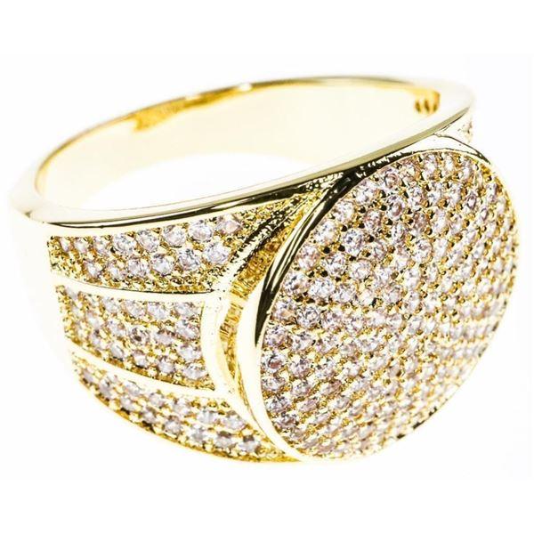 Gents 18ktGP/Stainless Steel Signet Style Ring,  Size 12, Swarovski Set