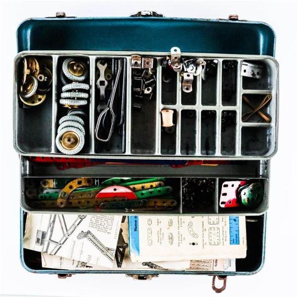 Metal Tackle Box Full of Meccano