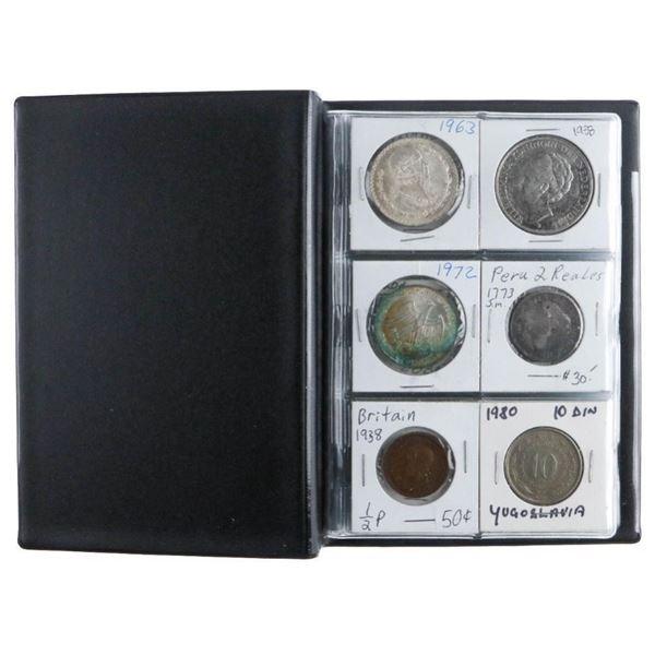 Coin Stock Book - 24 World Coins Includes Silver