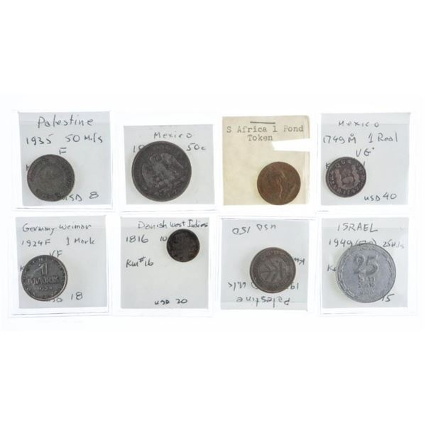 Group of 8 World Coins