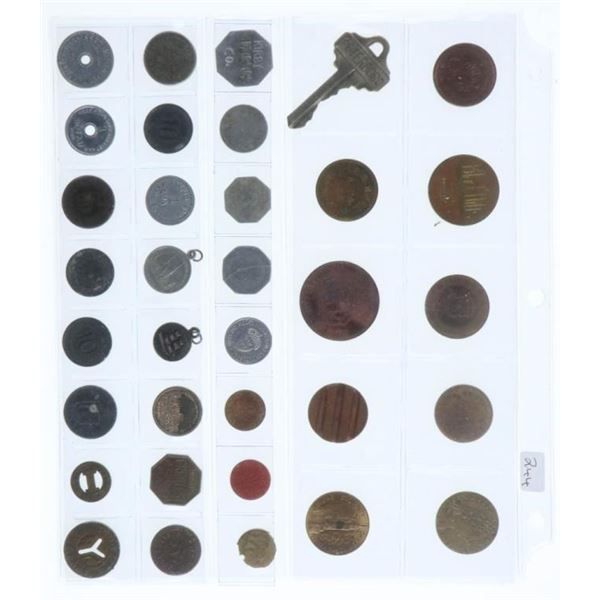 Group of 34 World Coins Tokens Etc.