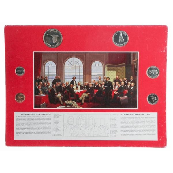 The Fathers of Confederation Vintage Art Board w/  Set 1967 Coins.