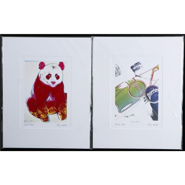 """Lot 2 Andy Warhol - Giclees - Perrier Water &  Giant Panda 5 x 7"""" UF"""