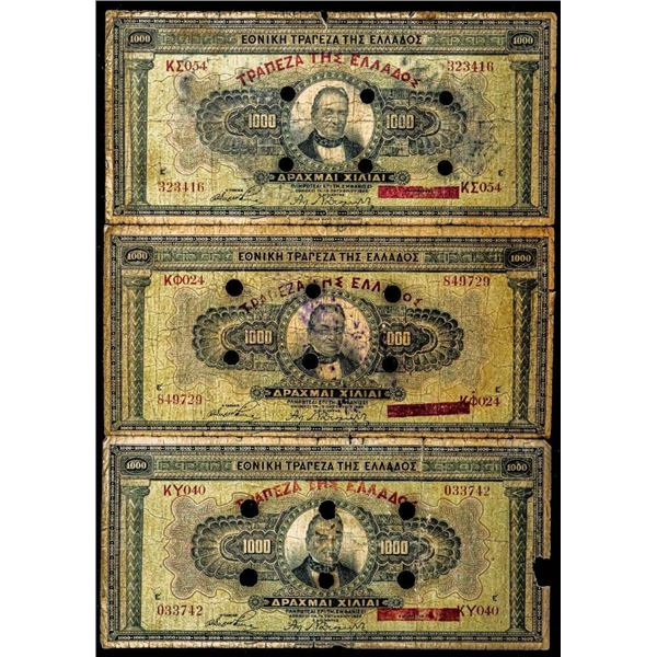 Lot 3 GREECE 1926 CANCELLED Notes 1000