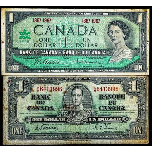 Lot 2 Canada $1 - 1967 & 1937