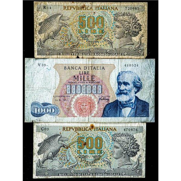 Lot 3 Italy - Notes 2 x500 Lire & 1 x 1000 Lire 1967-69