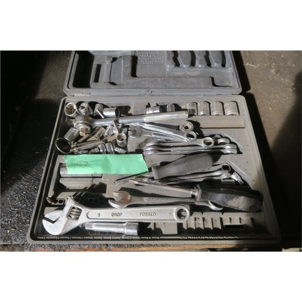 Lot of Tools Including Wrenches, Ratchet, and Incomplete Socket Set