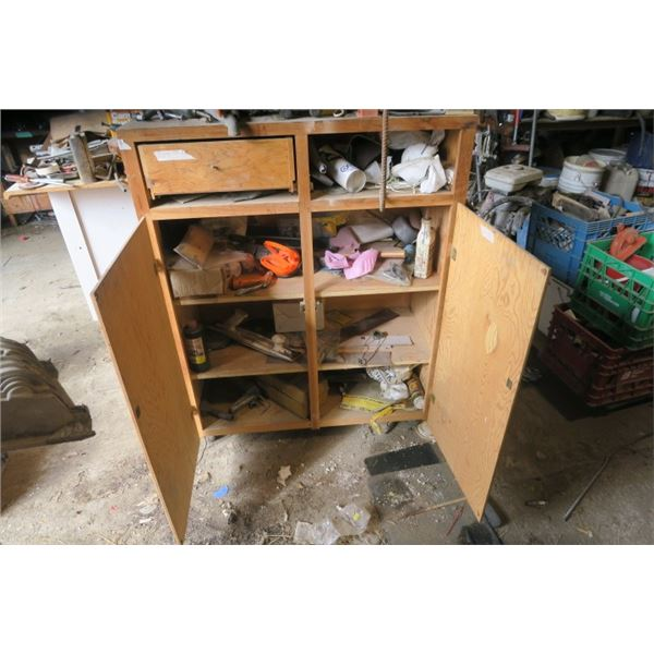Large Wooden Cabinet including Contents
