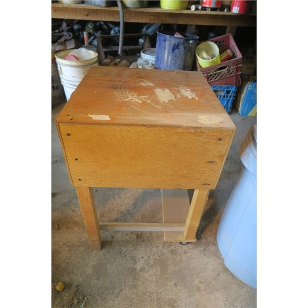Small Wooden Bench, Back Side on Castors.