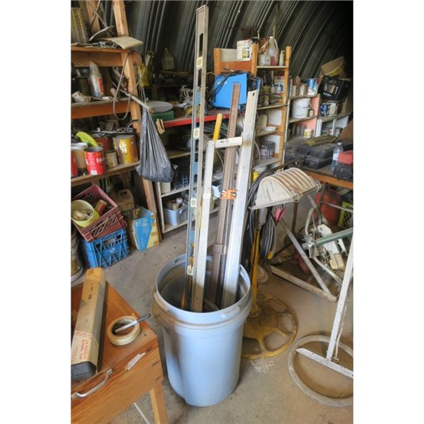 Garbage Can of Misc Tools Including Level, Square and More