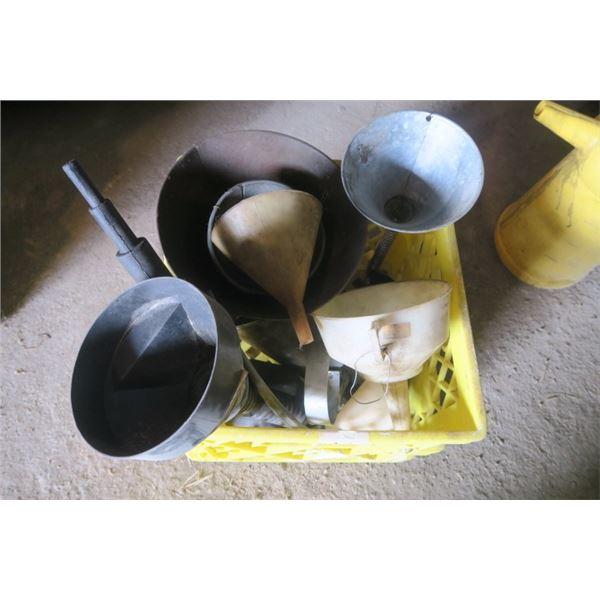 Milk Crate of Various Funnels
