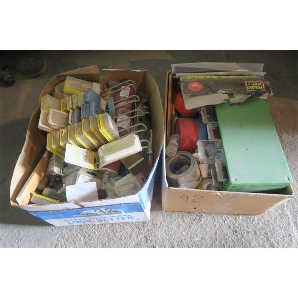 2 Boxes of Misc. Items Including Shop Organizer