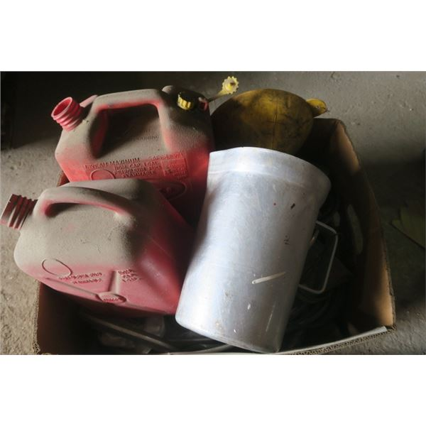 Box of Misc. Items Including Gas Cans and Funnel
