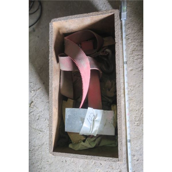 Vintage Wooden Box with Misc. Items
