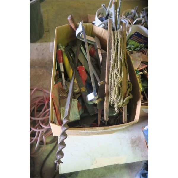 Box of Misc. Items Including Auger Bit and Files