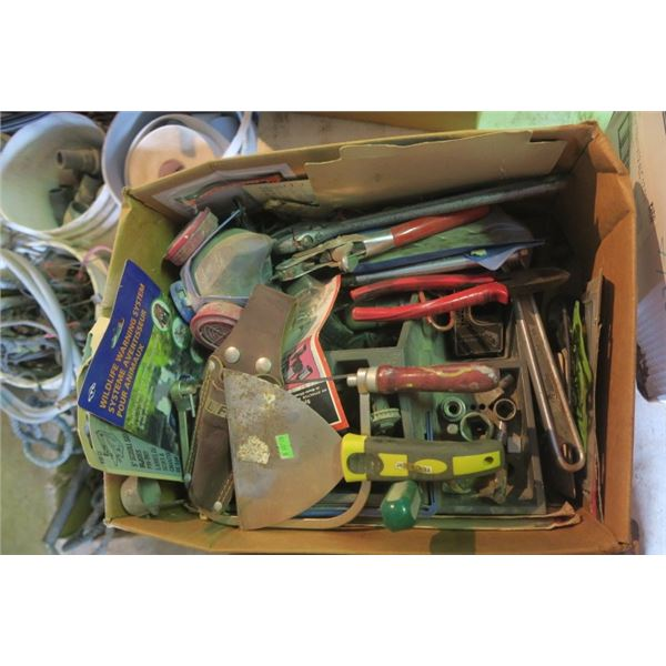 Box of Misc. Items Including Scraper, Adjustable Wrenches and More