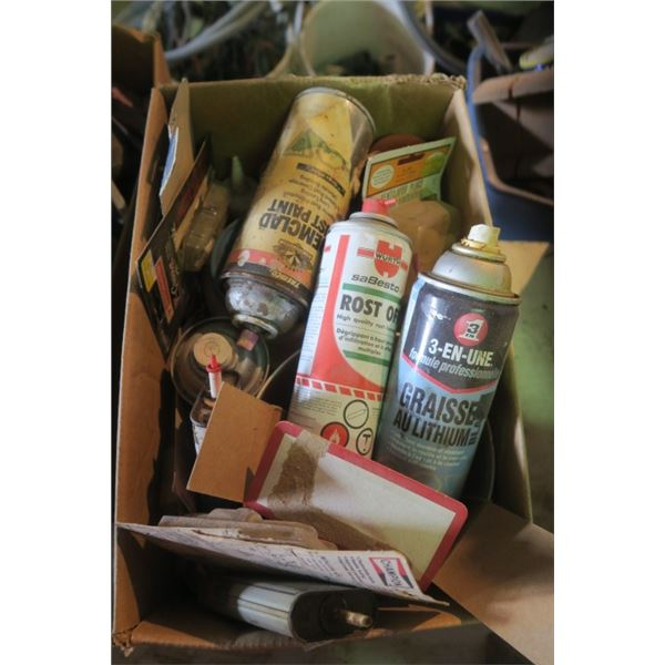 Box of Misc. Spray Lubricants and Other Shop Suppies