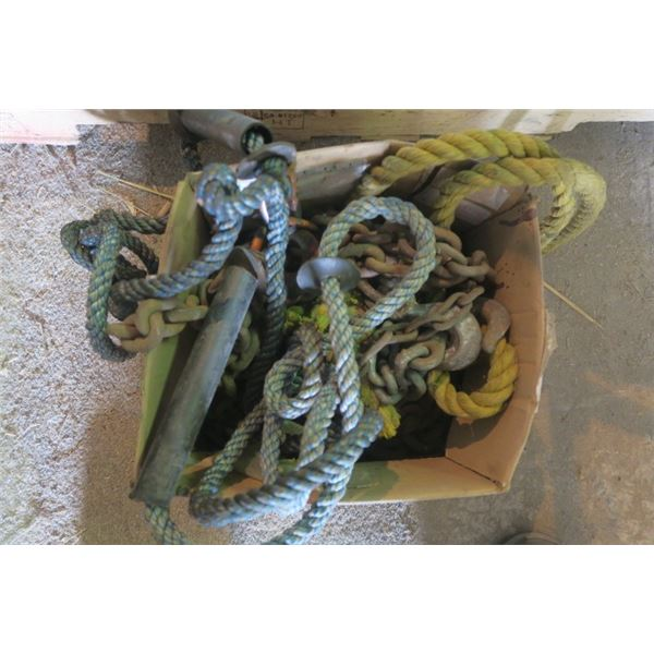 Box of Misc. Chain and Rope