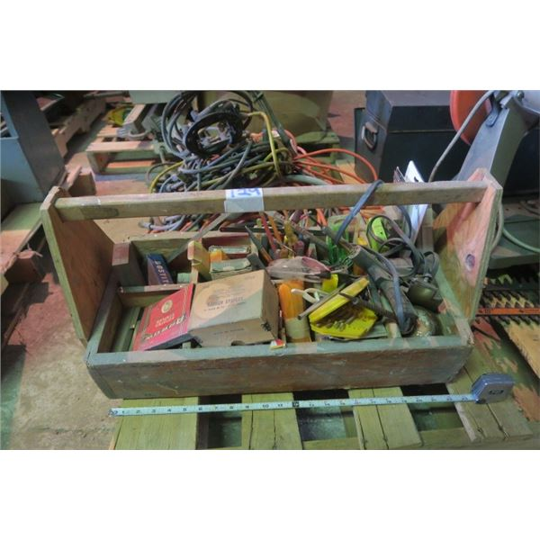 Small Wooden Toolbox Including Content